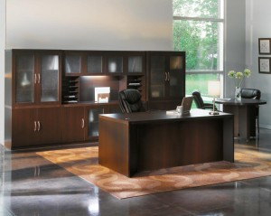 Executive Office Desk with Wall Unit