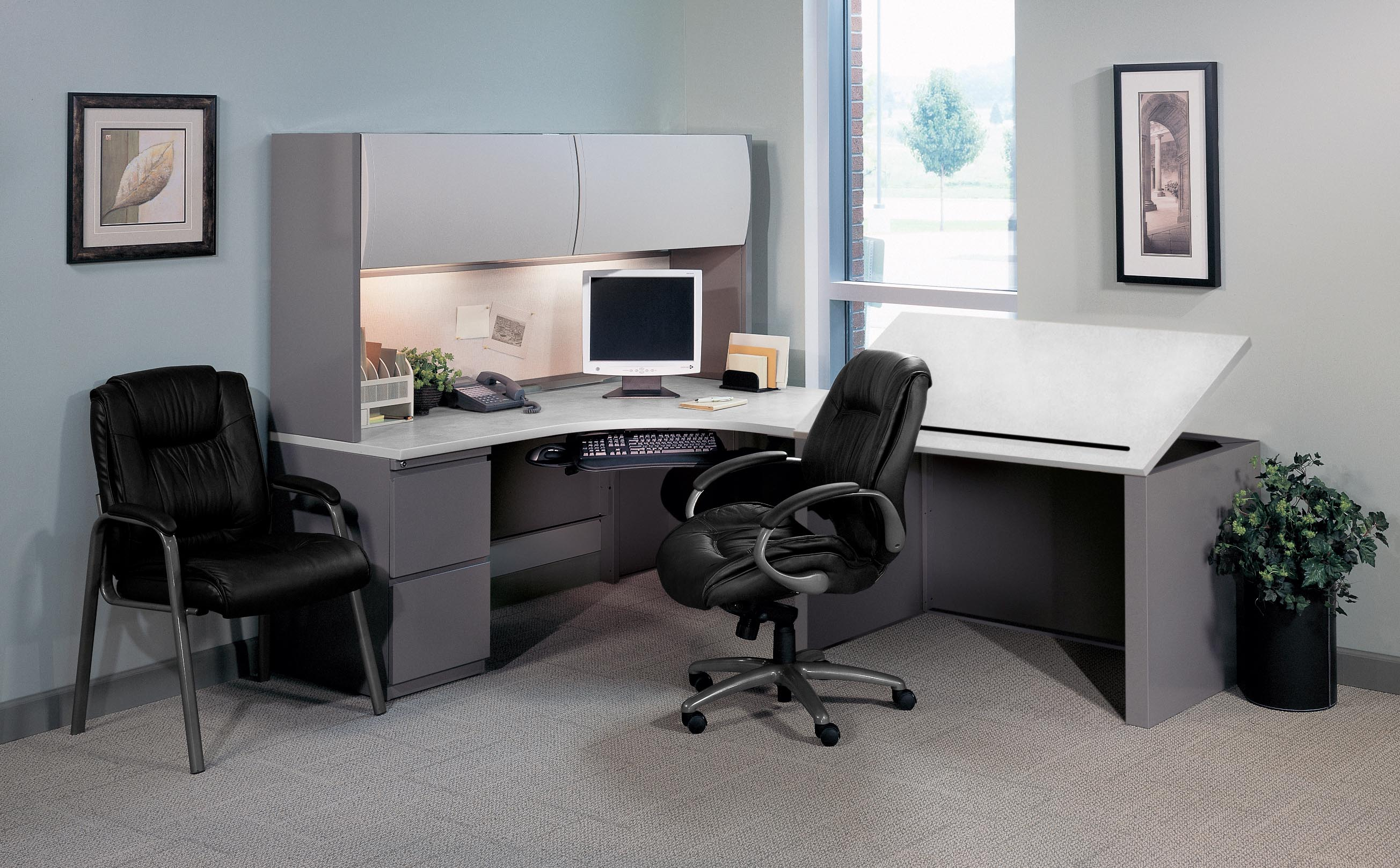 Extended Computer Corner Desk with Drafting Table