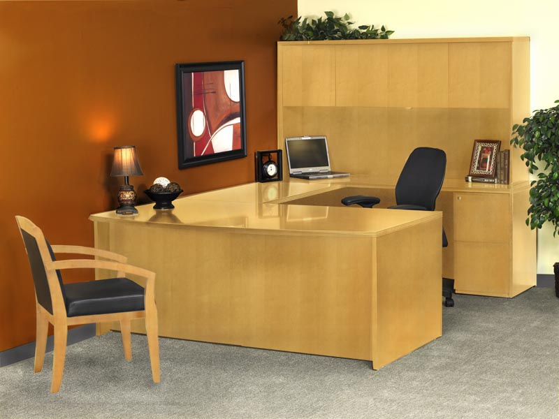 "Luminary Series Bow Front ""U"" Desk with Hutch Suite"