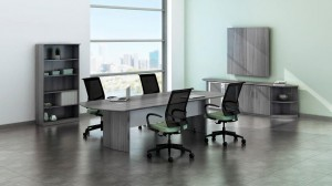 Medina Conference Room Gray Steel Laminate