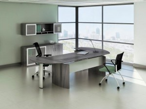 "Gray Steel Laminate ""L"" Desk Office"