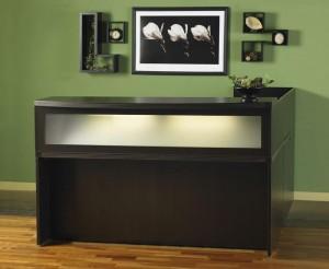 """Mahogany Reception """"L"""" Desk"""
