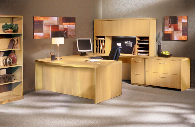 "Aberdeen Series Maple Bow Front ""U"" Desk Executive"