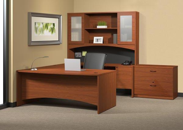 Cherry U Desk Suite