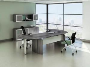 """Gray Steel Laminate """"L"""" Desk Office"""
