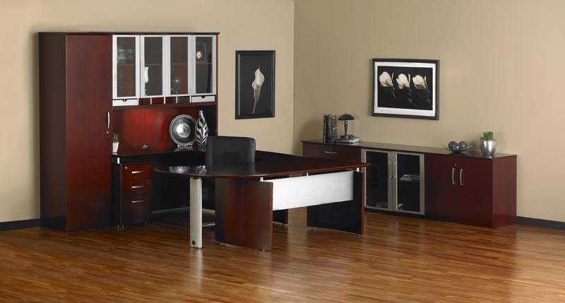 "Mayline Office Furniture Executive ""U"" Desk Office Suite"