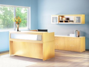 Maple Reception Desk and Credenza