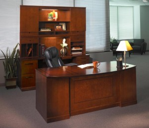 Bow Front Desk Credenza and Hutch